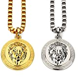 "Tidoo Jewelry Men's Lion Head Pendant Necklace with FREE 30"" Chain 18k Real Gold/Silver Plated -Unique Valentine's Day Present Ideas for Men&Boy"