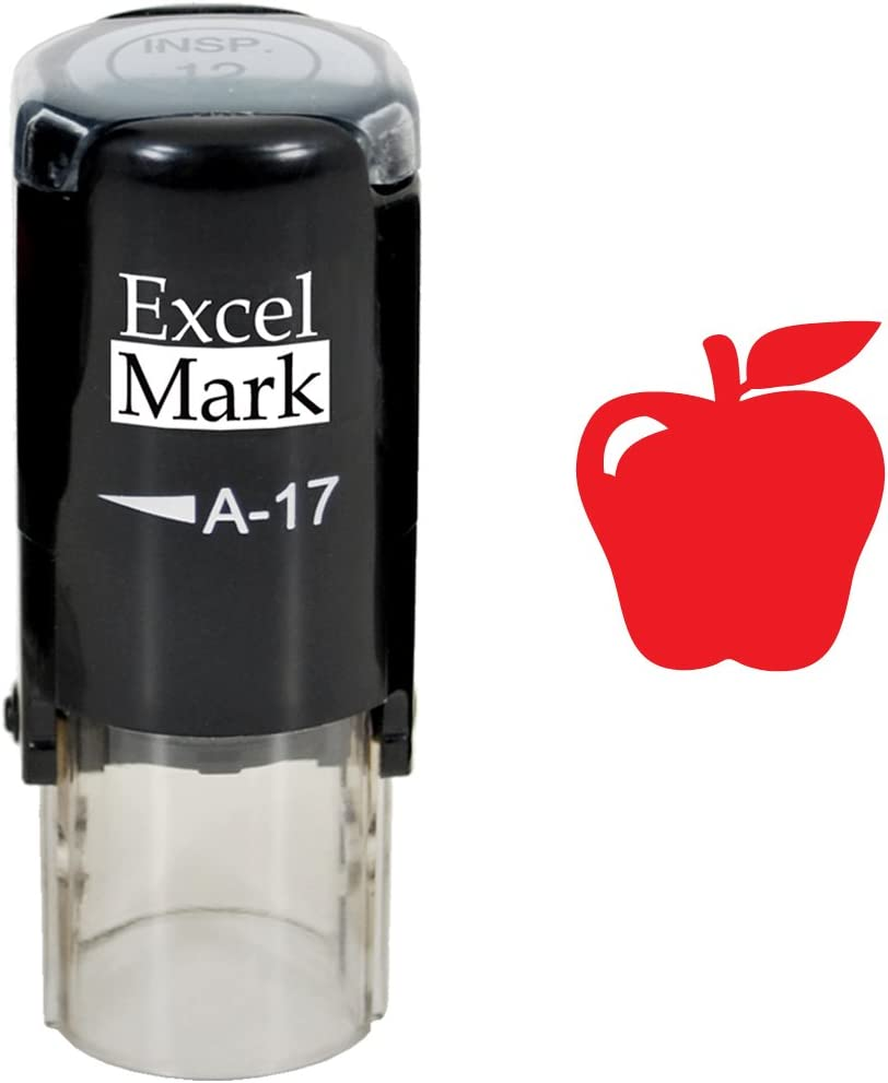 Apple - ExcelMark Self-Inking Round Teacher Stamp - Red Ink