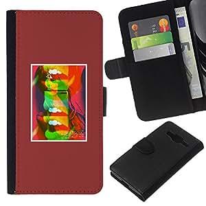 KLONGSHOP // Tirón de la caja Cartera de cuero con ranuras para tarjetas - Labios abstractos del beso del arte pop minimalista - Samsung Galaxy Core Prime //