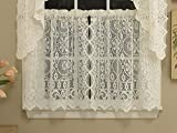 Sweet Home Collection Old World Style Floral Heavy Lace Kitchen Curtain, 24'' Tier, Hopewell Cream