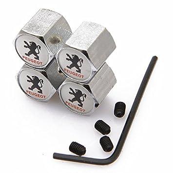 Kartek /® Peugeot White Anti theft Metal Chrome Tyre Valve Dust Cap