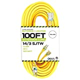 100 Foot Lighted Outdoor Extension Cord - 14/3 SJTW Heavy Duty Yellow Extension Cable with 3 Prong Grounded Plug for Safety - Great for Garden and Major Appliances