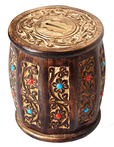 The StoreKing Mother's Day Gifts Decorative Antique Hand Crafted Wooden Money Bank Safe Piggy Bank for Girls & Boys (Design4)