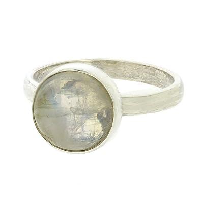 925er Silberring mit Mondstein Herzen