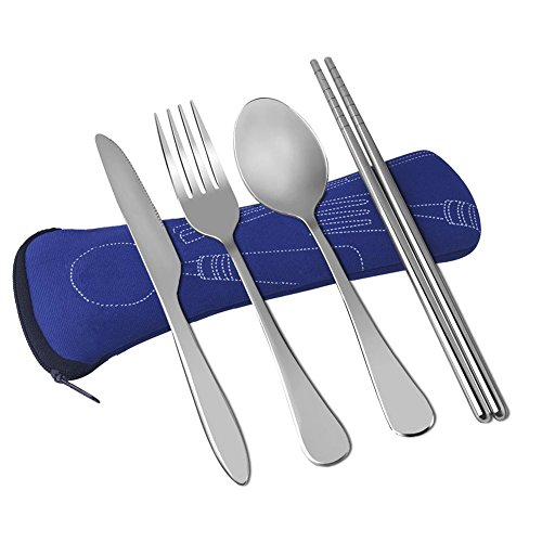 Wayber 4 Pcs Portable Stainless Steel Camping Flatware Set (Knife Fork Spoon Chopsticks) with Lightweight Soft Neoprene Case, Eco-Friendly Ideal for Traveling/Party/Business Trip/Office, Blue