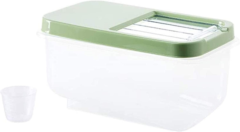 Grain container Kitchen Rice Storage Box Grain Container Kitchen Organizer Large Plastic Flour Rice Boxes Dust-Proof Moisture Food storage (Color : Green)
