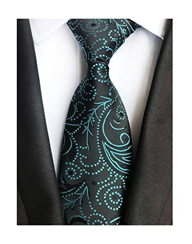 Mens Teal Blue Black Silk Tie Fancy Regular Soft Skinny Necktie Business Present