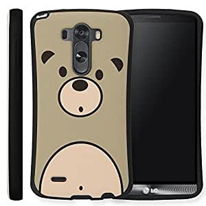 Ecoskin LG G 3 Case [Buckler Series 03] Cute Bear Design Shock Absorbent TPU Case with 9H Hardness Screen Protector F400 (Gray) [Retail Packaging] [Made in Korea]