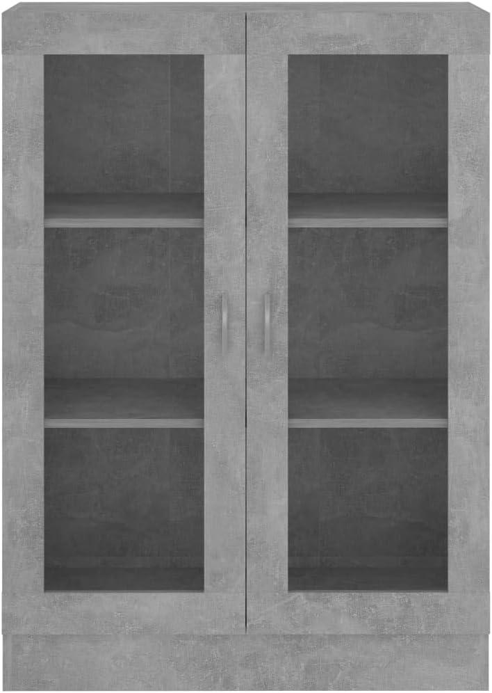 vidaXL Armoire /à Vitrine Biblioth/èque Armoire /à Livres Meuble de Rangement Salon Bureau Maison Int/érieur Gris B/éton 82,5x30,5x115 cm Agglom/ér/é
