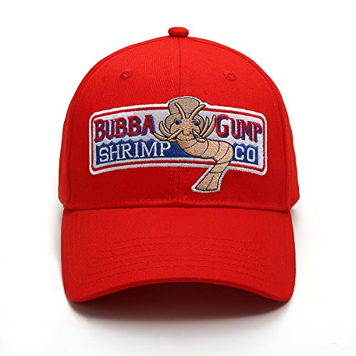 WYKBPX Adjustable Bubba Gump Baseball Cap Shrimp Co. Embroidered Bend Brimmed Hat (Red)