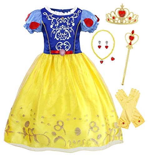 AmzBarley Princess Snow White Costume for Girls Kids Fancy Party Dress up Holiday Cosplay School Talent Show Halloween Outfits with Accessories Size 12