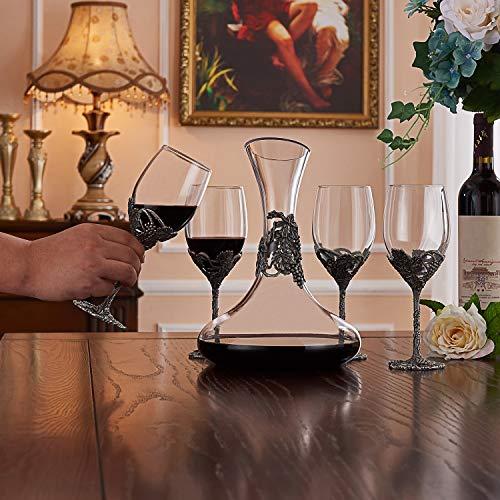 Wine Glasses Set of 5, Crystal Wine Glasses Set 4x 12oz Wine Glasses 1x 52oz Decanter with Enamels by NOSHMAN (Image #6)