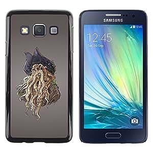 Pirate Monster - Metal de aluminio y de plástico duro Caja del teléfono - Negro - Samsung Galaxy A3 / SM-A300
