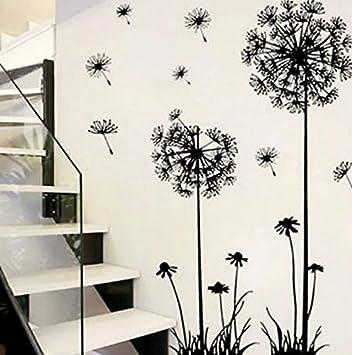Wandtattoo Löwenzahn Pusteblume 130x80 cm Wandaufkleber Wohnzimmer  Schlafzimmer Treppe Wandsticker Pflanzen zum Kleben Blumen Pflanzenmotiv  Sticker ...