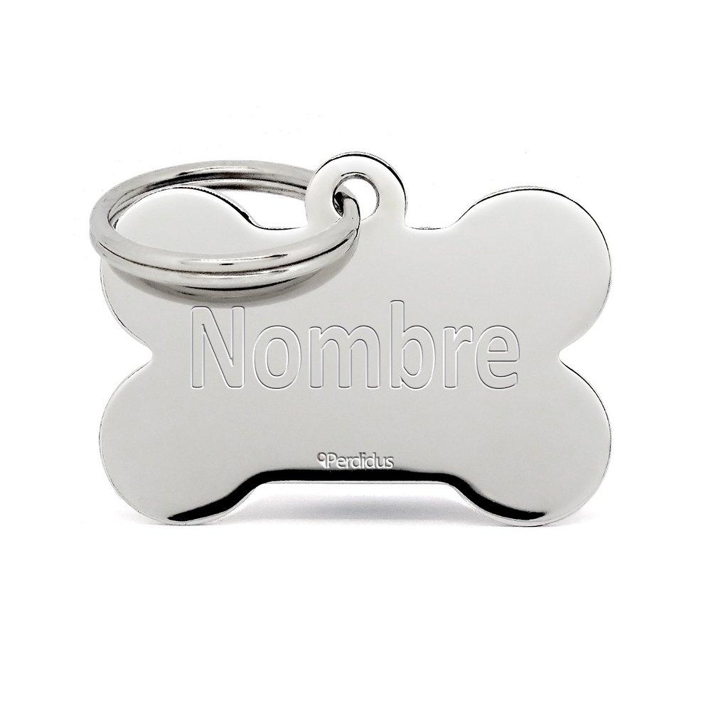 Placa Identificativa para Perros y Gatos con forma Hueso Plata 38 mm Grabado del Nombre y Tel/éfono incluido |