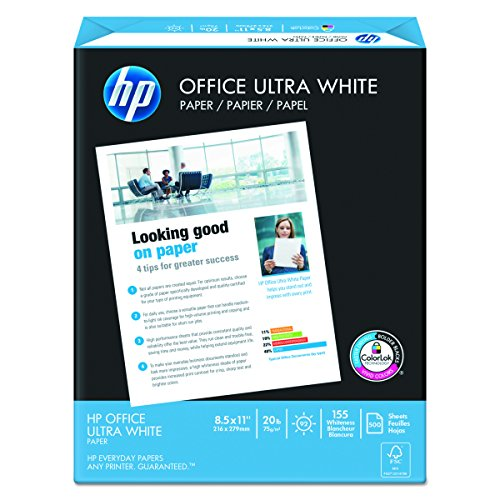 HP Paper, Office Ultra White Poly Wrap, 20lb, 8.5 x 11, Letter, 92 Bright, 2500 sheets / 5 Ream Case (172160) Made In The USA
