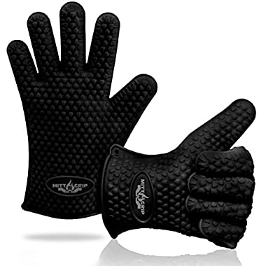Extra Thick Silicone Oven Gloves. Extreme Heat Resistance for BBQ Grilling, Baking, Smoking, Cooking, Crock Pot & Toaster Oven. Set of 2 Mitt-N-Grip Barbecue Gloves. One Size Fits Most - Sleek Black