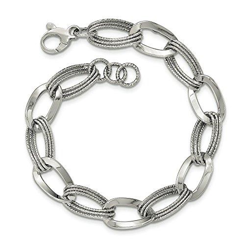 "Or blanc 14 carats poli Bracelet lien-Fantaisie-JewelryWeb 8 """