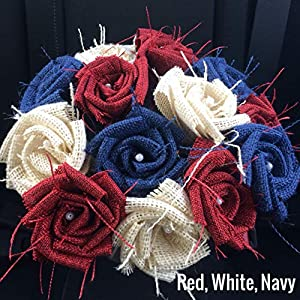 Red, White & Blue Burlap Flowers with Stem 4th of July America 4 red, 4 white, 4 navy (12 total) Burlap Rose Flowers with Stem Wedding Decor Flowers Rustic Bouquet with Wooden Stems 116