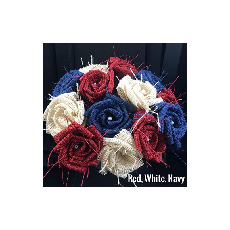 silk flower arrangements red, white & blue burlap flowers with stem 4th of july america 4 red, 4 white, 4 blue (12 total) burlap rose flowers with stem wedding decor flowers rustic bouquet with wooden stems
