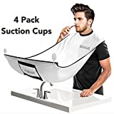 Beard Bib, Apolol Beard Catcher Apron with 4 PCS Suction Cups for Men Shaving and Trimming, Adjustable Neck Straps Hair Clippings Catcher, Grooming Cape Apron for Men Beard & Mustache Care