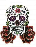 1/4 Sheet - Halloween Skull & Roses - Edible Cake/Cupcake Party Topper!!!
