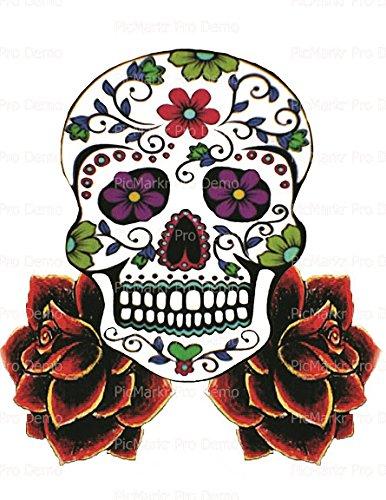 1/4 Sheet - Halloween Skull & Roses - Edible Cake/Cupcake Party Topper!!! -