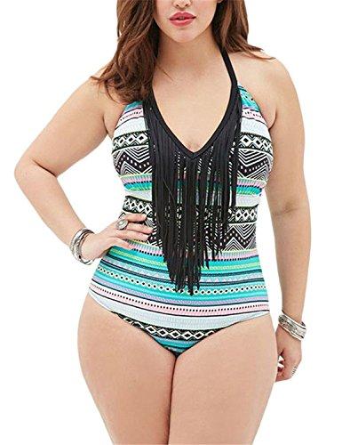 Womens One piece Swimsuit Tassels Bathing