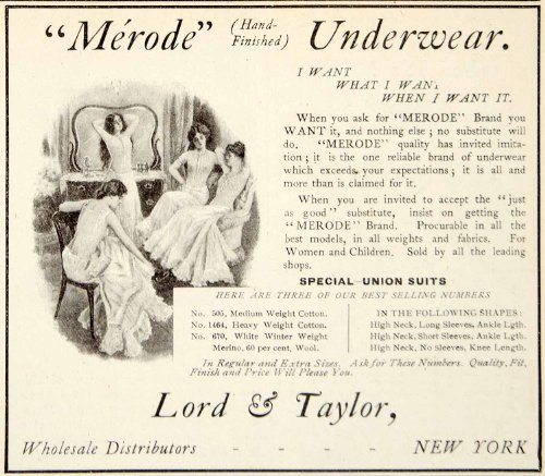 1906 Ad Merode Womens Underwear Cotton Lord Taylor New York Clothing Edwardian – Original Print Ad