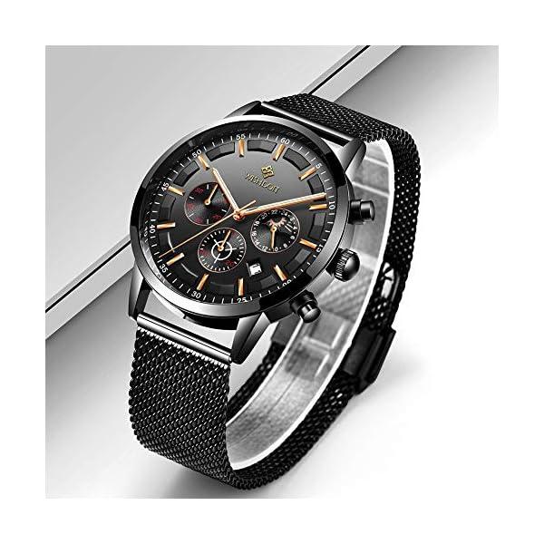 Men's Watches Fashion Analog Quartz Watch Date Business Chronograph Dress Luxury Brand Black Leather Wristwatch Gents Sport Waterproof Wristwatch 16