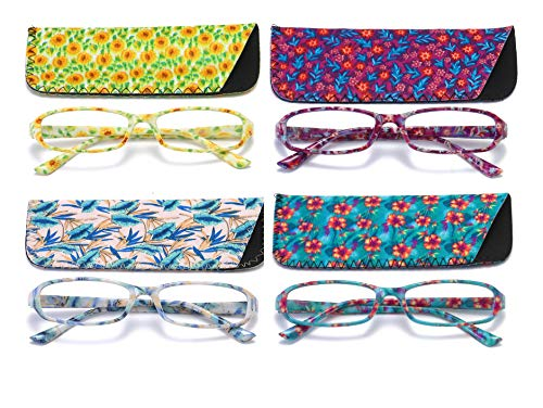 136 Glasses - SOOLALA 4-Pair Designer Fashionable Spring Hinge Rectangular Reading Glasses w/Matching Pouch, 4PairC, 1.0