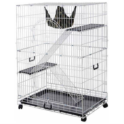 Large Metal Pet Crate Cat Cage Kennel Hammock Bed: White