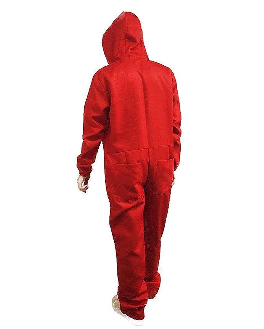8052 - Money Heist La Casa De Papel Dali Cosplay Costume Red Overall Plus Mask