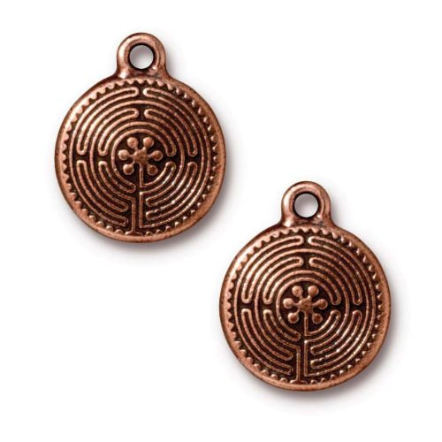Tierracast Antiqued Copper Plated Labyrinth Pendant Charm...