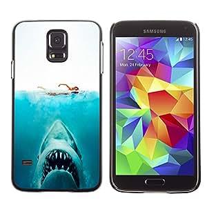 MOBMART Carcasa Funda Case Cover Armor Shell PARA Samsung Galaxy S5 - Swimming Away From Dangerous Sharks