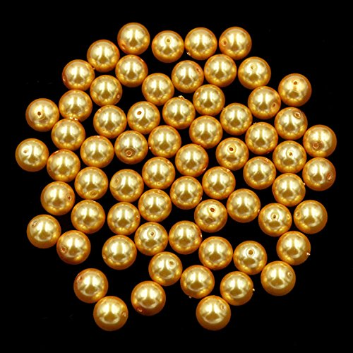 AD Beads Top Quality Czech Glass Pearl Round Loose Beads 3mm 4mm 6mm 8mm 10mm 12mm (6mm (200 Pcs), Dark Gold)