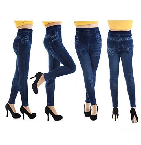 Da.Wa 1 pc Elástica de Pantalones Vaqueros Polainas de Dril de Algodón de Leggings para Mujer-Azul Oscuro Azul Oscuro
