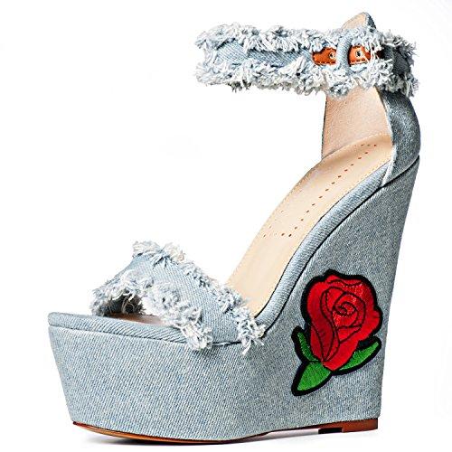 5a465f9261c well-wreapped Women's Fashion Dress Wedge Sandals, Pink Palms Denim ...