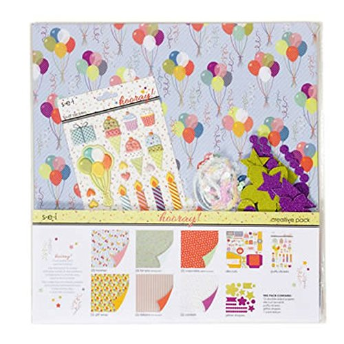 (SEI Hooray Scrapbook 12 Inch by 12 Inch Paper Pack Party Embellishments)