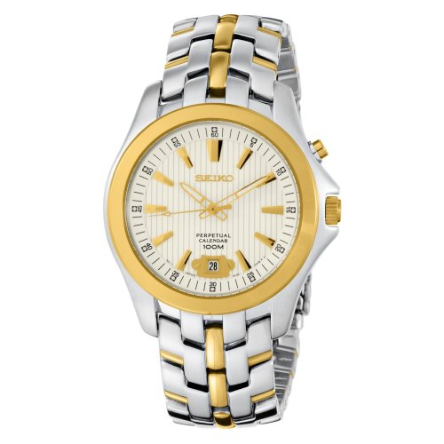 Seiko Men's SNQ102 Perpetual Calendar Two-Tone Solid Stainless-Steel Case and Bracelet Silver Dial Watch (Calendar Tone Two Bracelet)