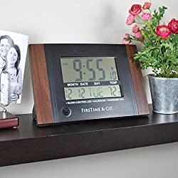 FirsTime 31022 Executive Digital Tabletop Clock, 11.5 H x 7.5 W, Black
