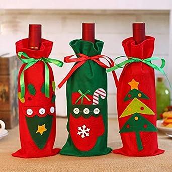 Navidad decoración, 3 piezas Navidad Papá Noel Rojo Vino flaschenabdeckung bolsillos Schöne Navidad Rojo Vino Cordón Fieltro Funda mesa Cena Decoración Home ...