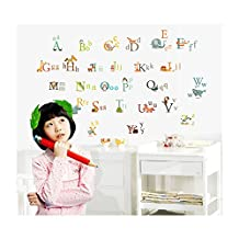 Fantastic High Quality Adhesive Rooms Walls Vinyl DIY Stickers / Murals / Decals / Tattoos For Kids Playrooms / Nurseries With Alphabet / Letters And Cute Animals Designs In Many Colours By VAGA
