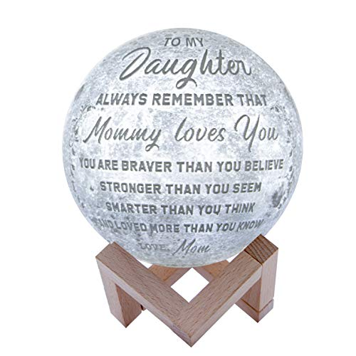 Engraved 3D Moon Lamp for Daughter,Personalized 5.9 Inch 3D Printing Moon Light Gift for Daughter Son Graduation Gift from Mom, from Dad (for Duaghter Form Mom) -