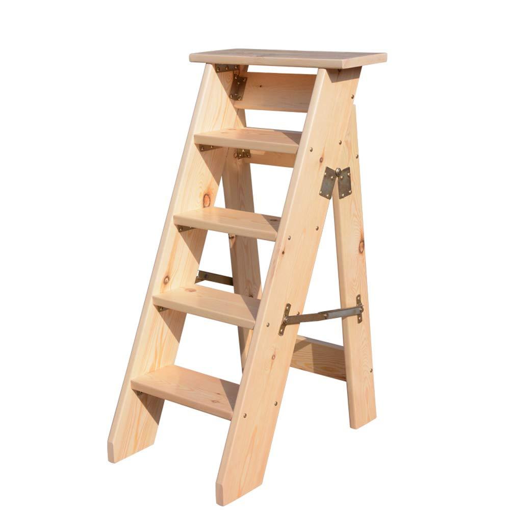 ステップスツール 木製はしごスツール多機能折り畳み式5段厚木製ボードホームライブラリ(自然色)(150kg容量) B07H4CD21Y