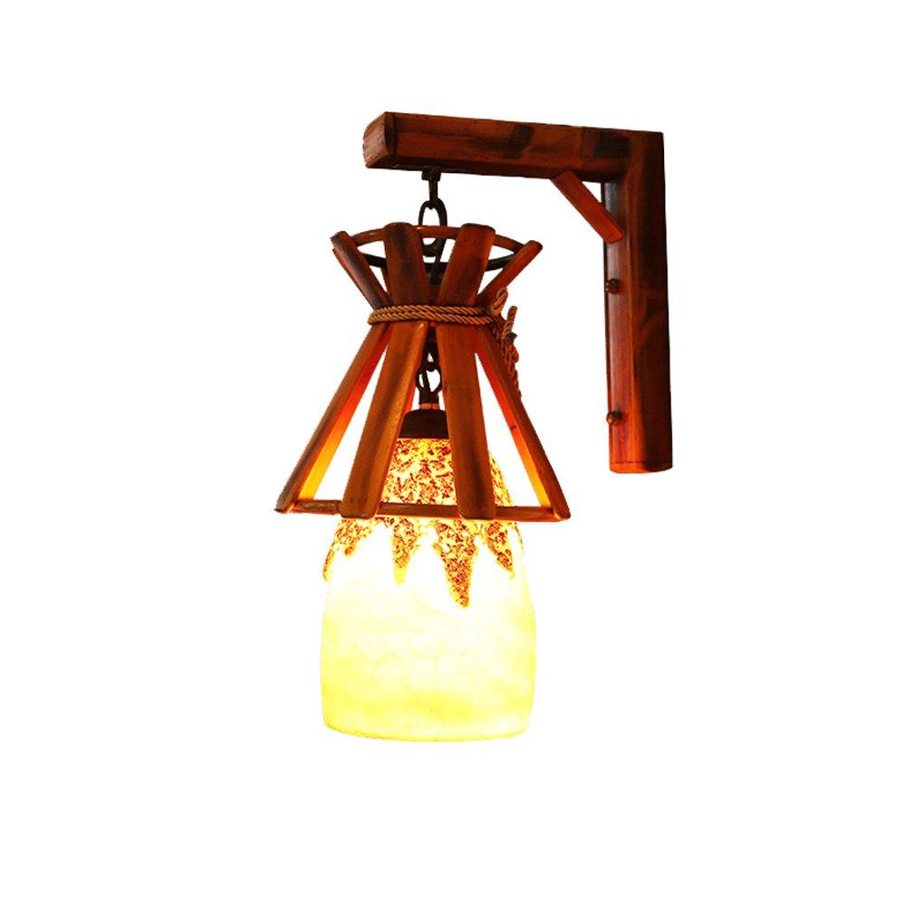 Wandlampe, Europäischer ländlicher Balkonwandlampengang der Art Caféstab Harzlichter Bambus Bambuslicht Kreative Wandlampe E27 (Farbe   Single)