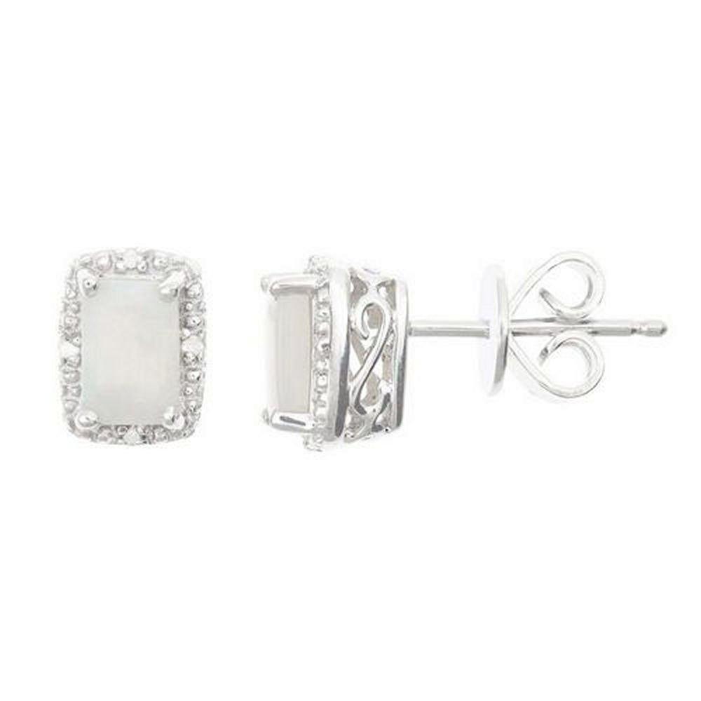 925 Sterling Silver Emerald Cut Opal & Diamond Halo Stud Earrings 6mm x 4mm