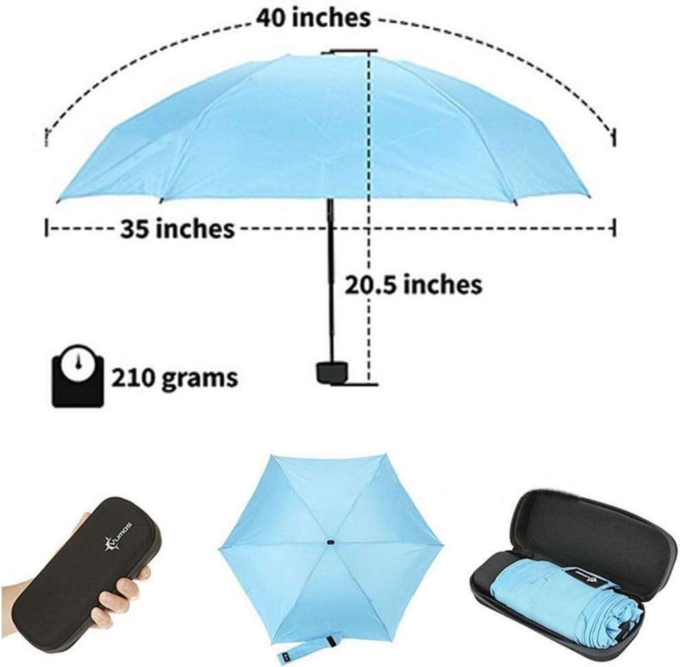 XIANGNAIZUI Mini Folded Pocket Umbrella Small Super Light Five-fold Umbrella Bag Umbrellas Windproof Folding Rain Umbrellas for Woman Kids Color : Black