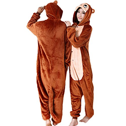 vimans Women Plush Flannel Pajamas for Girls Monkey Onesie Homewear Pyjamas, XL