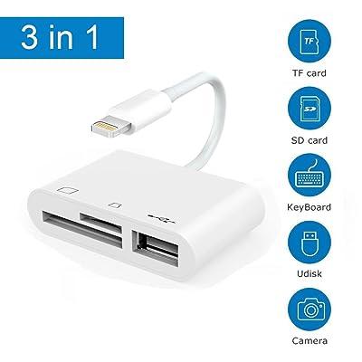 3 en 1 lecteur de carte sd de l'éclairage à la carte mémoire sd trousse caméra connexion usb lecteur de cartes éclairs au gt, câble usb 2.0 female otg adaptateur, éclairage sur